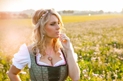 oktoberfest blonde woman wearing a dirndl